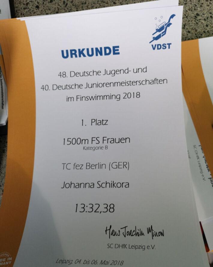 New Junior World Record in 1500 SF Girls from Johanna Schikora from Germany, Finswimmer Magazine - Finswimming News